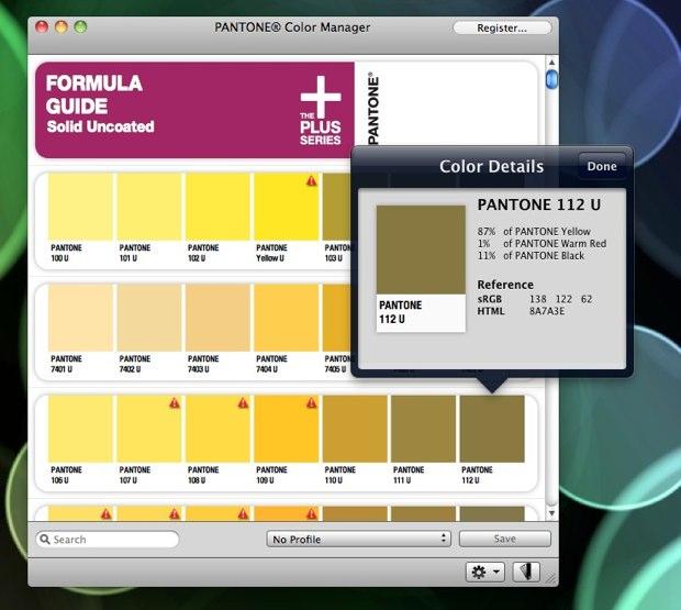 il est gratuit pour les utilisateurs de produits pantone enregistrs et sera sinon vendu 4995 une fois finalis une version pour windows va suivre - Pantone Color Manager