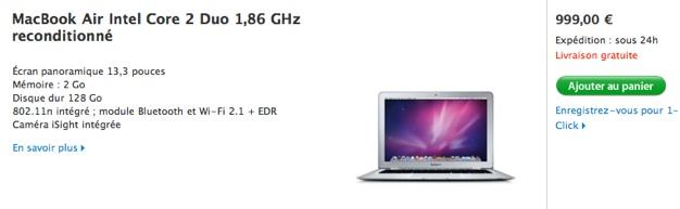 le macbook air passe CA EAC sur refurb