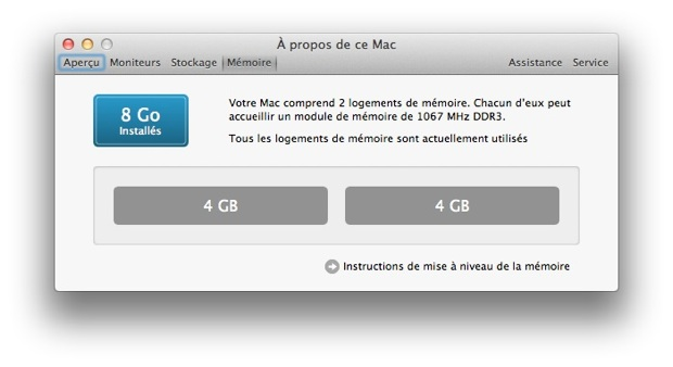 mac os lion informations systèmes