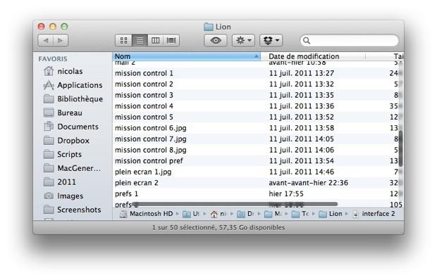 barre défilement OS X Lion