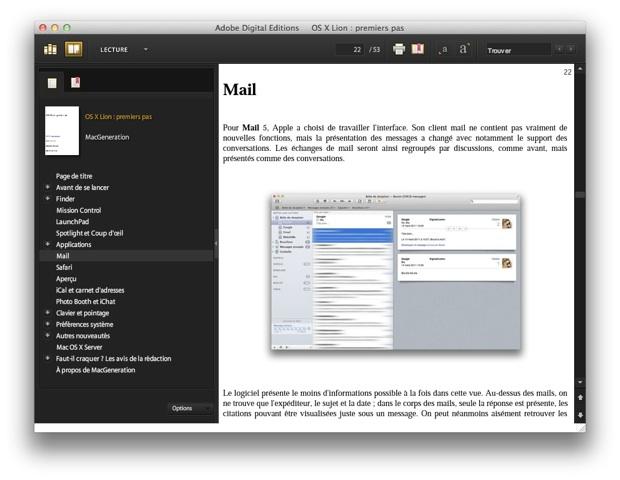 OS X Lion premiers pas adobe digital editions