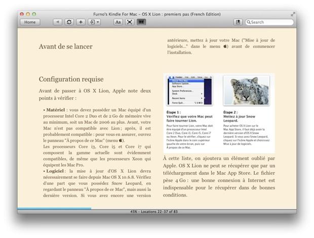 OS X Lion premiers pas Kindle