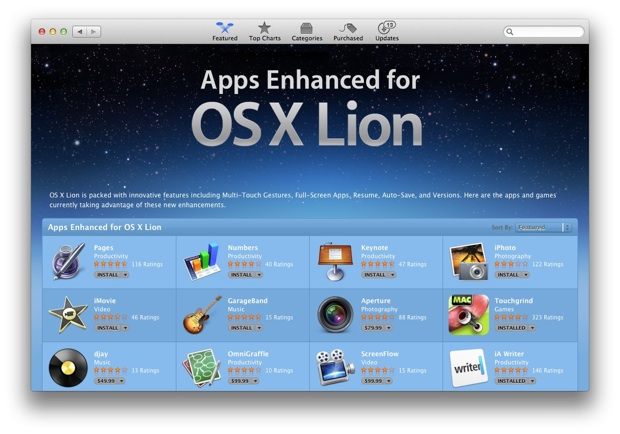 Mac App Store os x lion