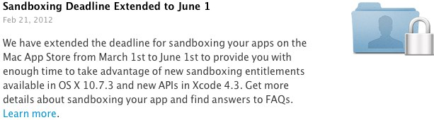 Apple repousse la date limite pour l'adoption du sandboxing